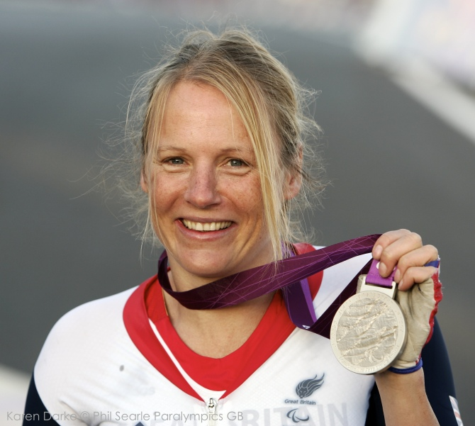 Buxton Adventure Festival_Karen Darke_PS cycling Darke medal_credit Phil Searle Paralympics GB